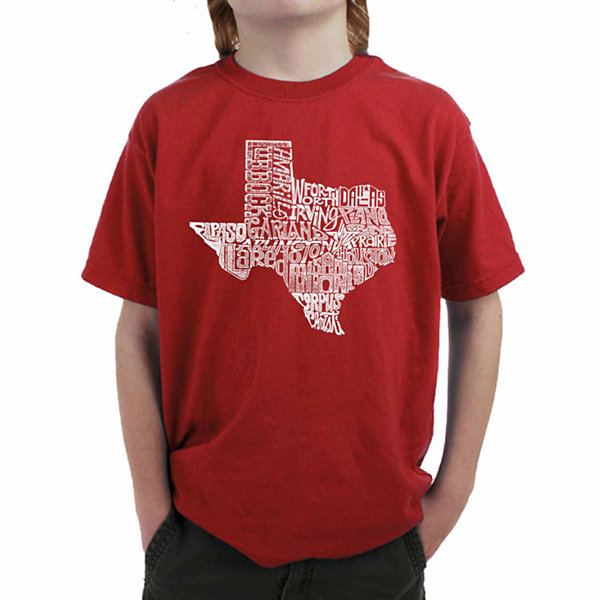 Los Angeles Pop Art Most Popular Cities In Texas Graphic Boys T-Shirt