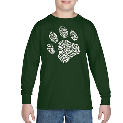 Los Angeles Pop Art Popular Dog Commands And Tricks Long Sleeve Boys Word Art T-Shirt