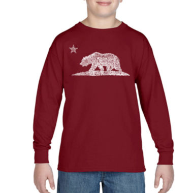 Los Angeles Pop Art Some Of The Largest Cities InCalifornia Long Sleeve Boys Word Art T-Shirt