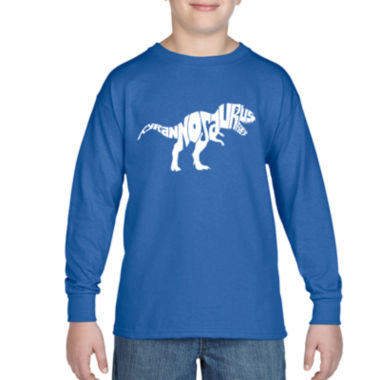 Los Angeles Pop Art Popular Dinosaur Name Long Sleeve Boys Word Art T-Shirt