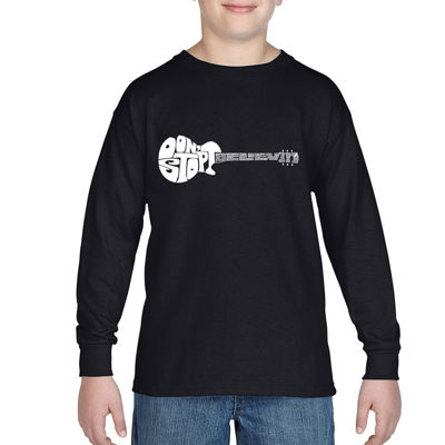 Los Angeles Pop Art Guitar From Words Don'T Stop Believin Boys Crew Neck Long Sleeve Graphic T-Shirt-Big Kid