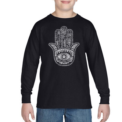 Los Angeles Pop Art Word Protect In Different Languages Long Sleeve Boys Word Art T-Shirt