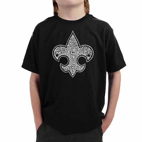 Los Angeles Pop Art Created Out Of The Entire Boy Scout Oath Graphic T-Shirt-Big Kid Boys