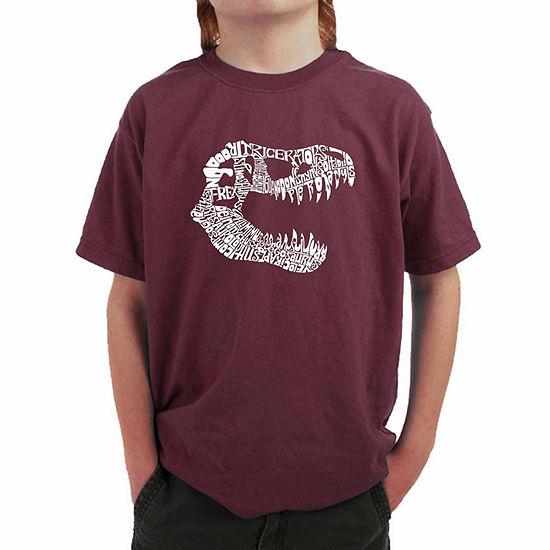 Los Angeles Pop Art Trex Skull Using Popular Dinosaur Names - Big Kid Boys Crew Neck Short Sleeve Graphic T-Shirt