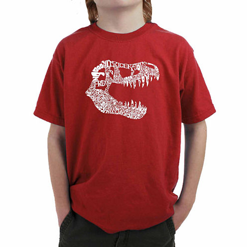 Los Angeles Pop Art Trex Skull Using Popular Dinosaur Names Graphic T-Shirt-Big Kid Boys