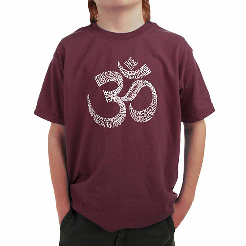Los Angeles Pop Art Created Out Of Popular Yoga Poses Graphic T-Shirt-Big Kid Boys