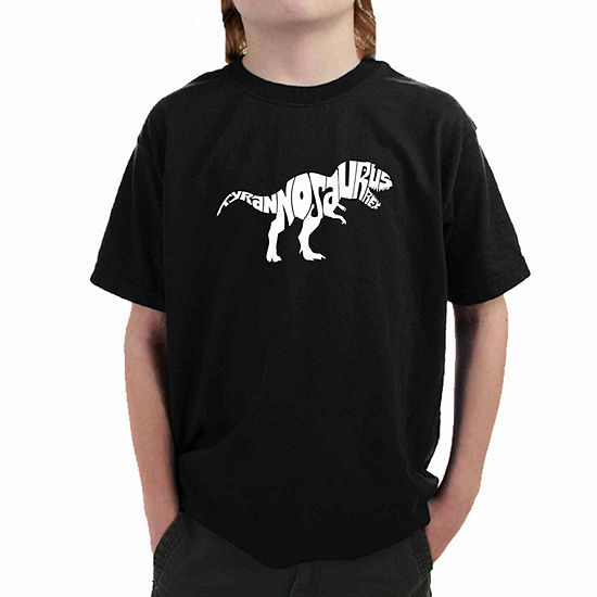 Los Angeles Pop Art Popular Dinosaur Name Boys Crew Neck Short Sleeve Graphic T-Shirt - Big Kid