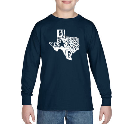 Los Angeles Pop Art Everything Is Bigger In TexasLong Sleeve Boys Word Art T-Shirt