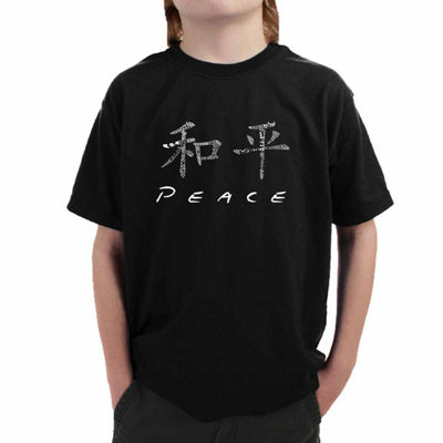 Los Angeles Pop Art The Word Peace In 77 Languages Graphic T-Shirt-Big Kid Boys