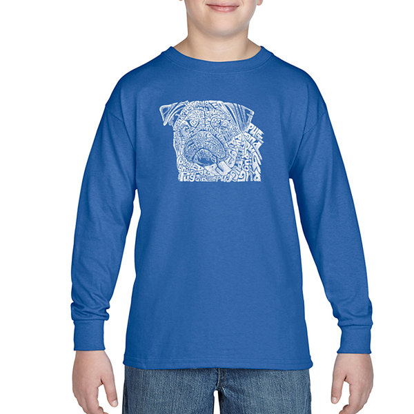 Los Angeles Pop Art The Word Pug Long Sleeve BoysWord Art T-Shirt
