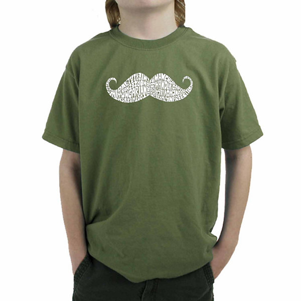Los Angeles Pop Art Different Ways To Style A Moustache Graphic Boys T-Shirt