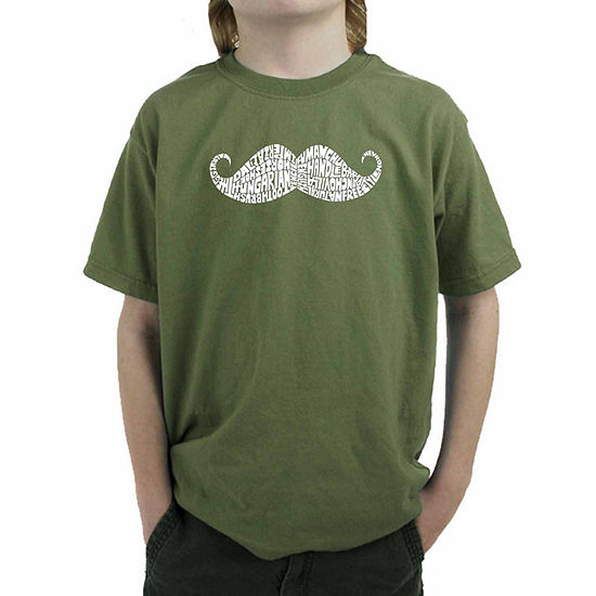 Los Angeles Pop Art Different Ways To Style A Moustache Boys Crew Neck Short Sleeve Graphic T-Shirt Big Kid