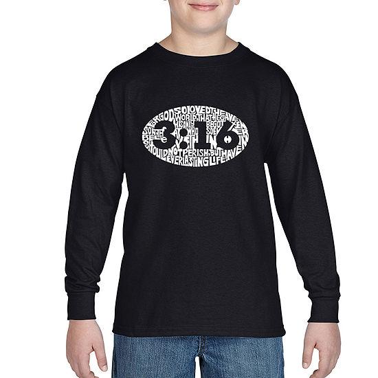 Los Angeles Pop Art The Verse John 316 Boys Crew Neck Long Sleeve Graphic T-Shirt - Big Kid