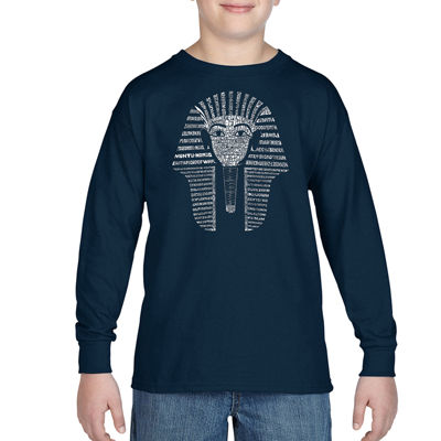 Los Angeles Pop Art Names Of Different Egyptian Gods Long Sleeve Boys Word Art T-Shirt