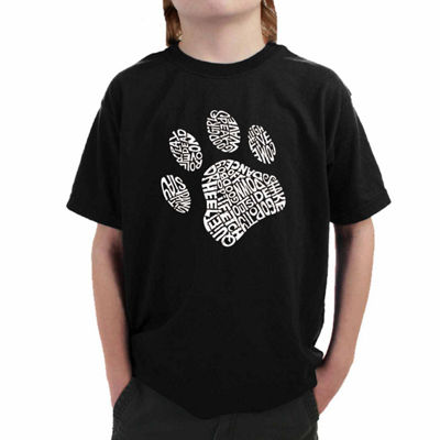 Los Angeles Pop Art Popular Dog Commands And Tricks Graphic T-Shirt-Big Kid Boys