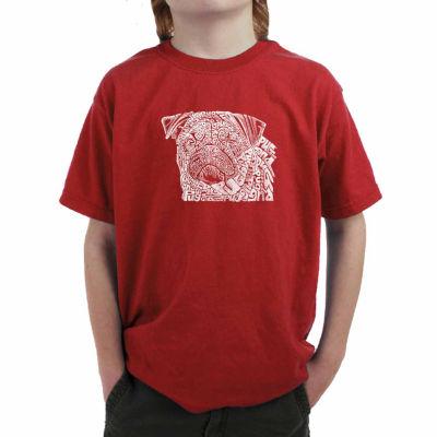 Los Angeles Pop Art The Word Pug Graphic T-Shirt-Big Kid Boys