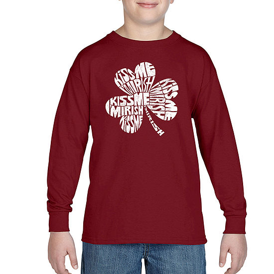 Los Angeles Pop Art Kiss Me I'M Irish Boys Crew Neck Long Sleeve Graphic T-Shirt - Big Kid