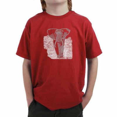 Los Angeles Pop Art List Of Popular Endangered Species Boys Crew Neck Short Sleeve Graphic T-Shirt