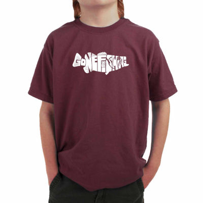 Los Angeles Pop Art Created Out Of The Words Gone Fishing Graphic T-Shirt-Big Kid Boys