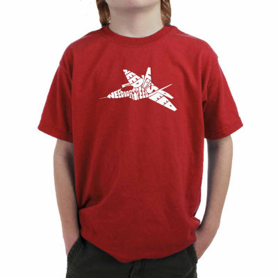 Los Angeles Pop Art Fighter Jet Using Words Need For Speed Graphic Boys T-Shirt
