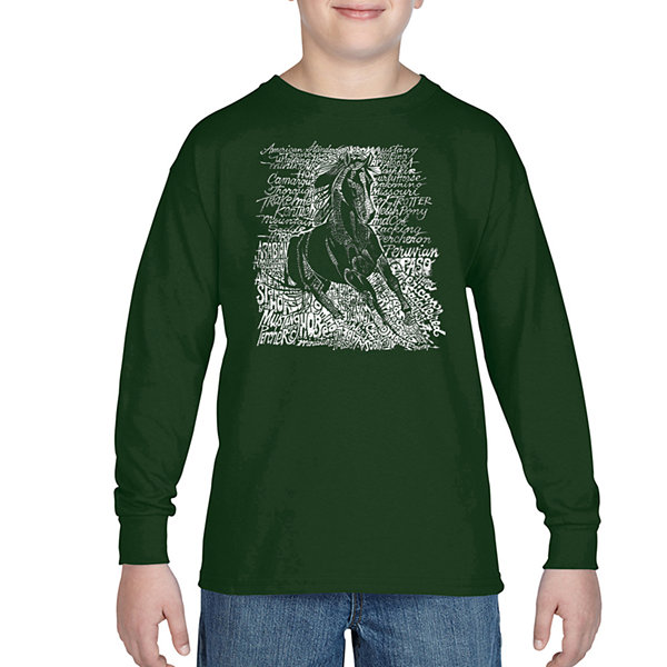 Los Angeles Pop Art Popular Horse Breeds Long Sleeve Boys Word Art T-Shirt