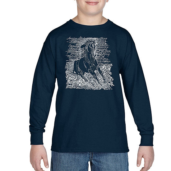 Los Angeles Pop Art Popular Horse Breeds Boys Crew Neck Long Sleeve Graphic T-Shirt - Big Kid