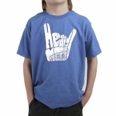 Los Angeles Pop Art Heavy Metal Fingers Words Heavy Metal Boys Crew Neck Short Sleeve Graphic T-Shirt-Big Kid
