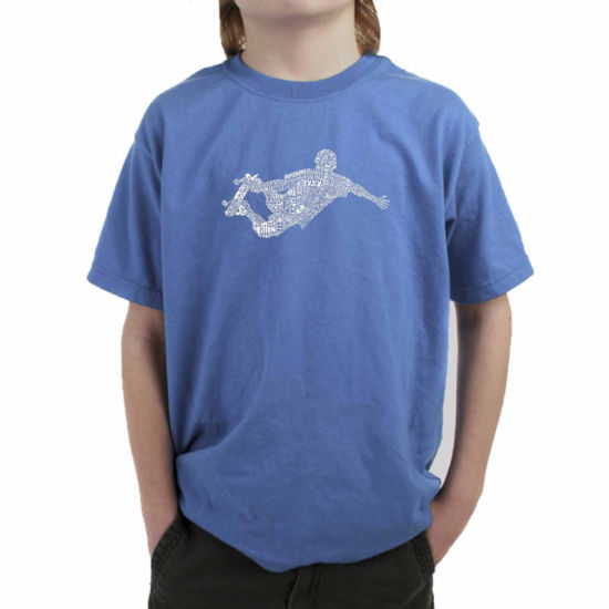 Los Angeles Pop Art Popular Skating Moves Graphic T-Shirt-Big Kid Boys