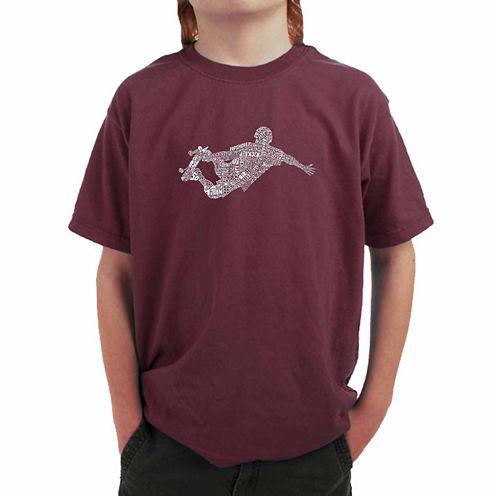 Los Angeles Pop Art Popular Skating Moves Graphic T-Shirt-Big Kid Boys