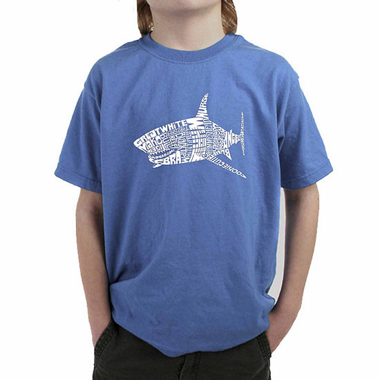 Los Angeles Pop Art Popular Species Of Shark Boys Crew Neck Short Sleeve Graphic T-Shirt - Big Kid