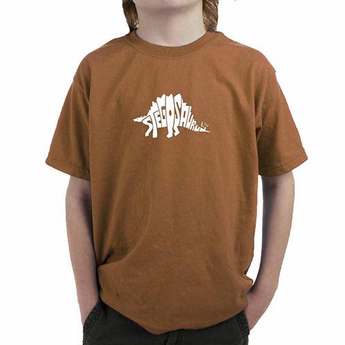 Los Angeles Pop Art Design Created Out The Word Stegosaurus Graphic T-Shirt-Big Kid Boys