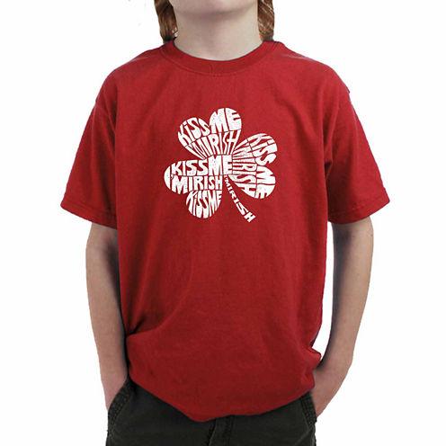 Los Angeles Pop Art Kiss Me I'M Irish Graphic T-Shirt-Big Kid Boys