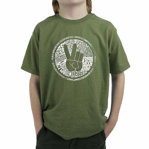 Los Angeles Pop Art Make Love Not War Graphic T-Shirt-Big Kid Boys