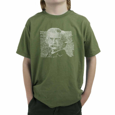 Los Angeles Pop Art Some Of Twain'S Most Popular Quotes Boys Crew Neck Short Sleeve Graphic T-Shirt-Big Kid