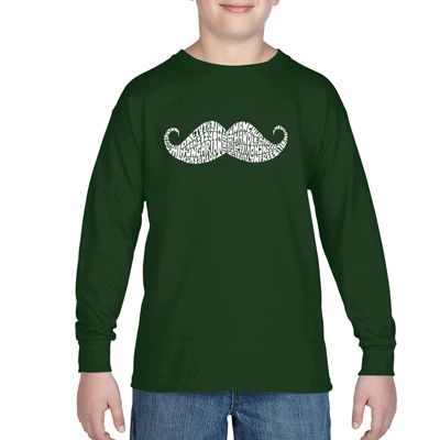 Los Angeles Pop Art Different Ways To Style A Moustache Boys Crew Neck Long Sleeve Graphic T-Shirt-Big Kid