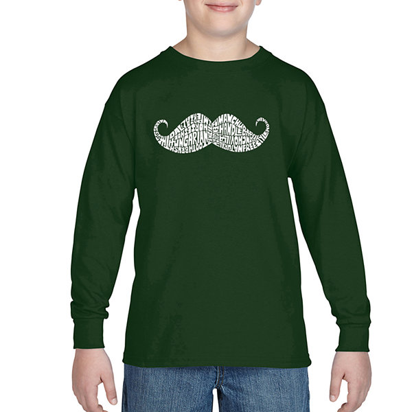 Los Angeles Pop Art Different Ways To Style A Moustache Long Sleeve Boys Word Art T-Shirt