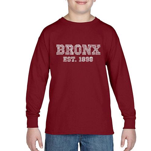Los Angeles Pop Art Popular Bronx Ny Neighborhoods Graphic T-Shirt-Big Kid Boys