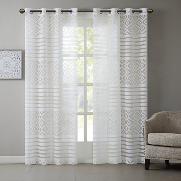 Madison Park Claire Grommet-Top Sheer Curtain Panel