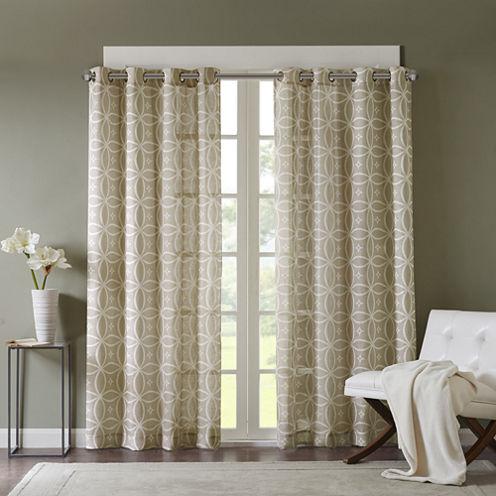 Misha Textured Grommet-Top Curtain Panel