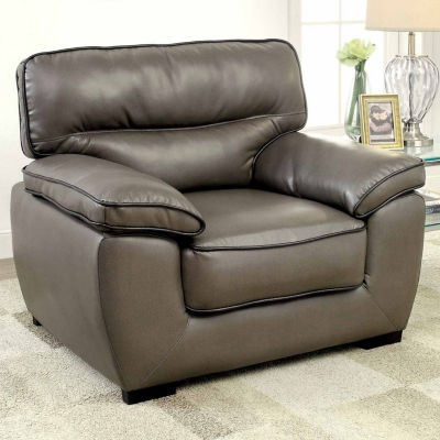 Faux Leather Pad-Arm Chair