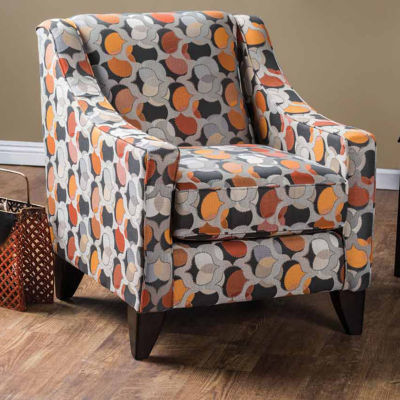 Fabric Curved Slope-Arm Chair