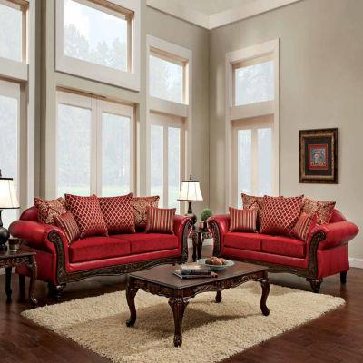 Byron Traditional Fabric Roll-Arm Sofa