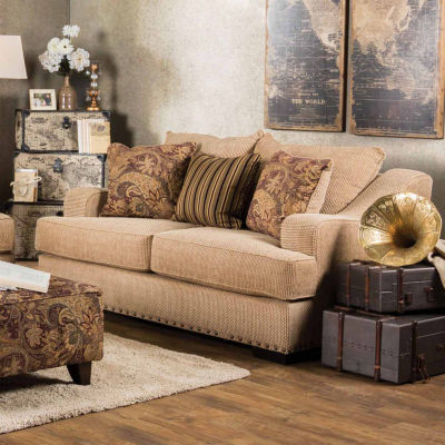 Gallovan Contemporary Curved Slope-Arm Loveseat