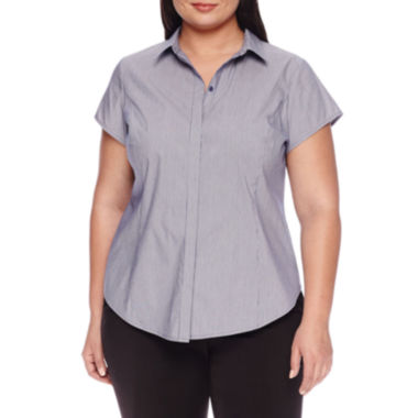 Worthington® Short Sleeve Button Front Blouse - Plus