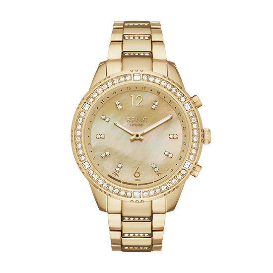 Relic By Fossil Eliza Womens Gold Tone Stainless Steel Smart Watch-Zrt1001