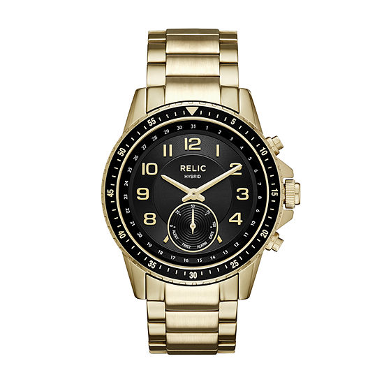 Relic By Fossil Mens Gold Tone Stainless Steel Smart Watch-Zrt1009