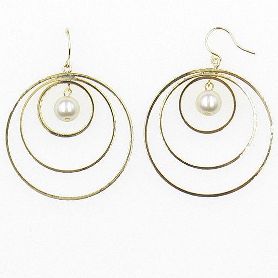 Vieste Rosa Simulated Pearls 40mm Hoop Earrings