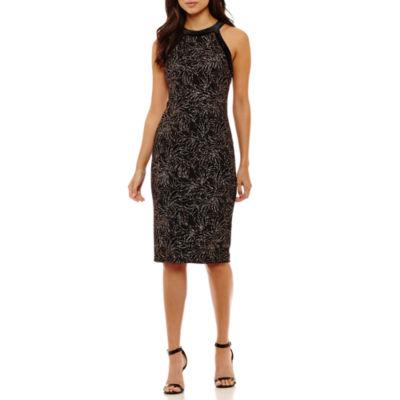 Bisou Bisou Sleeveless Velvet Leaf Sheath Dress
