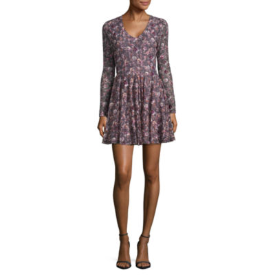 Rewind Long Sleeve Floral A-Line Dress-Juniors