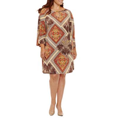 Tiana B Long Sleeve Patchwork Sheath Dress-Plus